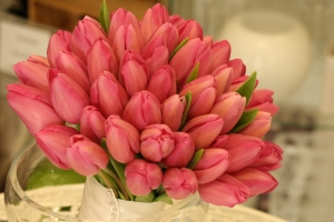 Bridal bouquet in pink tulips